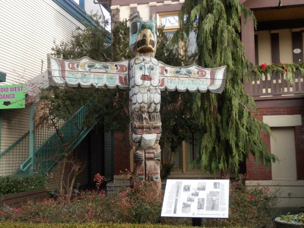 Totem pole outside Ladner Museum.
