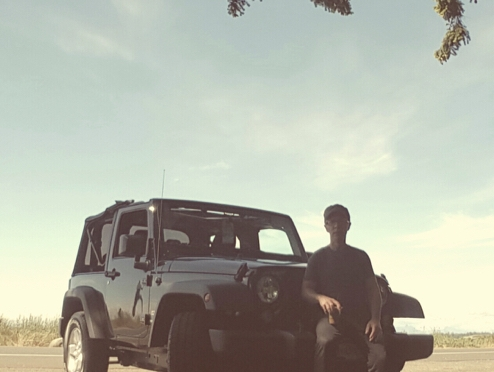 James in his Jeep Getting Java–Cottage Town